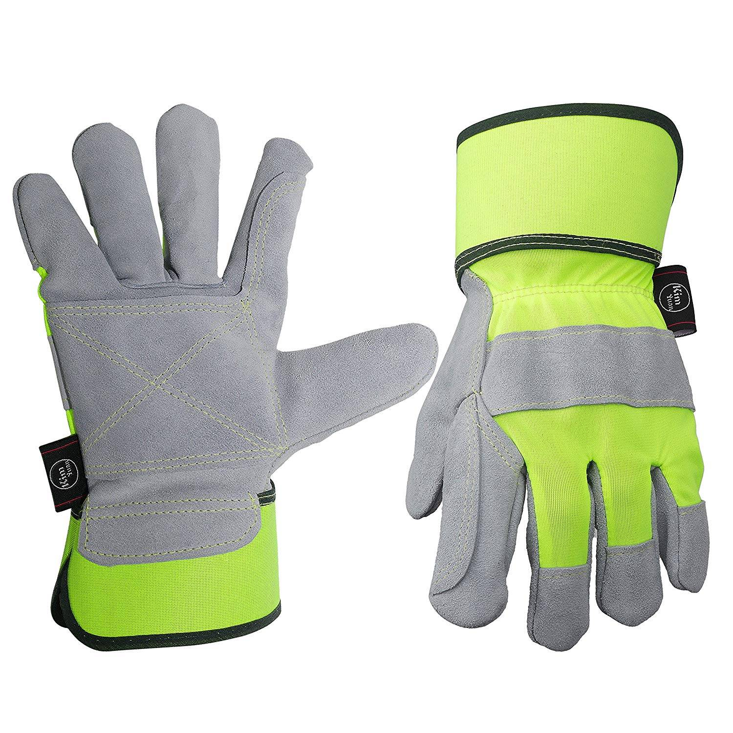 Leather Work Gloves, Perfect for Truck Driving/Yard Work/Gardening/Construction/Warehouse/Motorcycle/Heavy Duty Working, Men&Women
