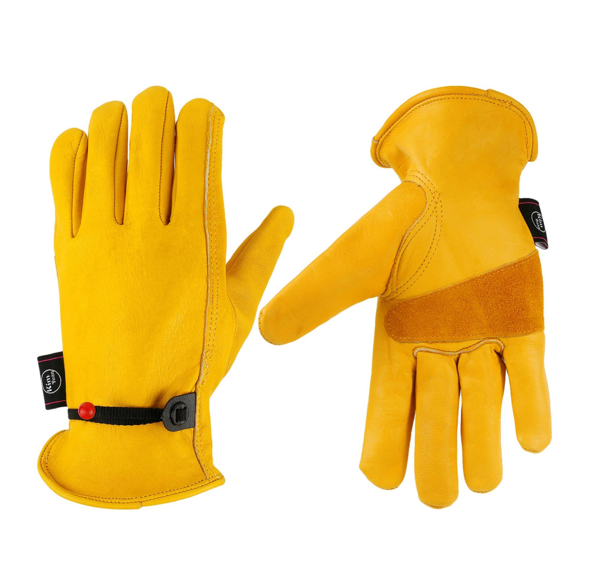 KIM YUAN Leather Work Gloves, with Adjustable Wrist, Wear-Resisting Puncture-Proof For Yard Work, Gardening, Farm, Warehouse, Construction, Motorcycle, Men & Women