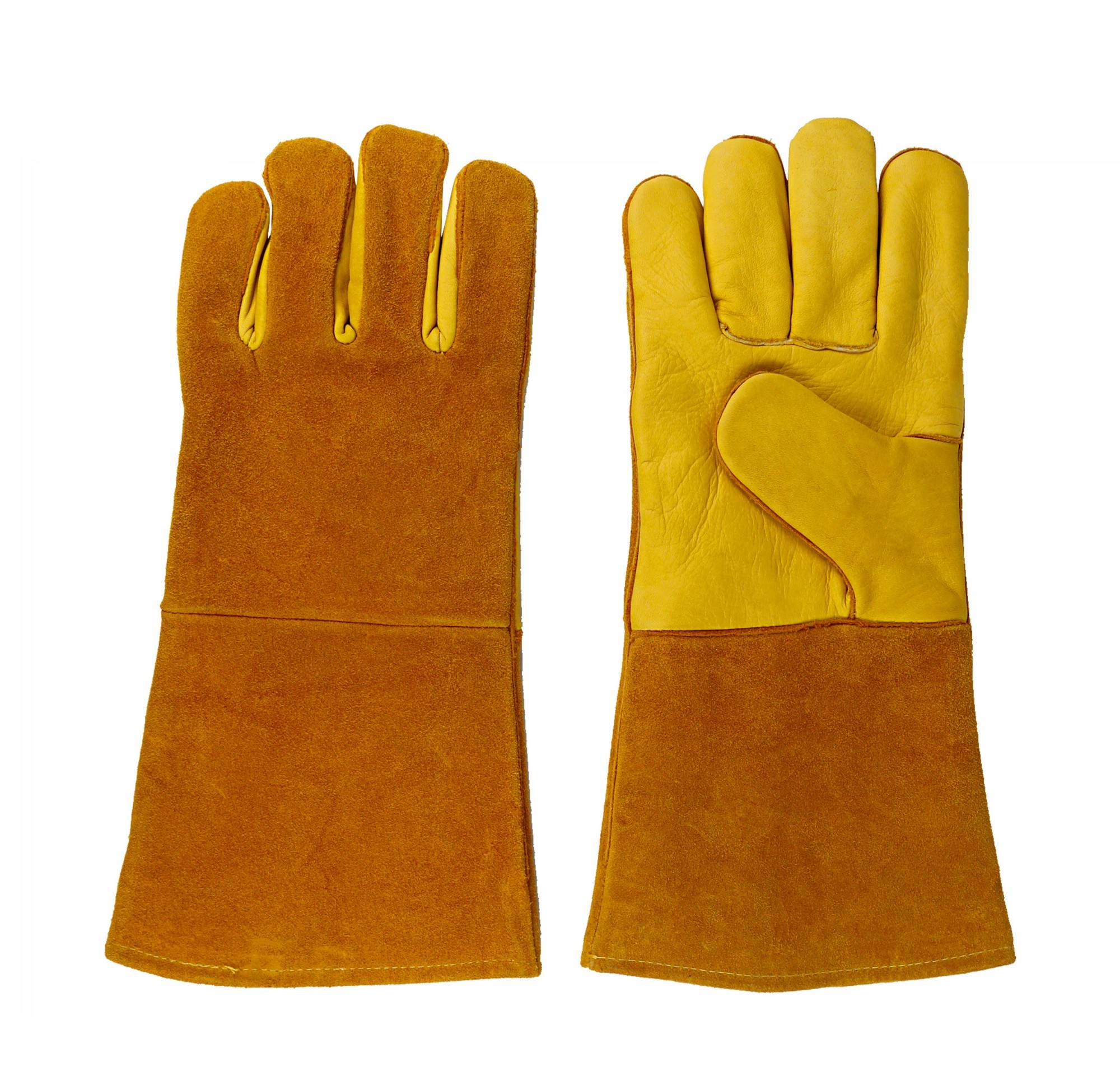 KIM YUAN Leather Welding Gloves-Heat/Fire Resistant, for Welder/Oven/Fireplace/Animal Handling/BBQ
