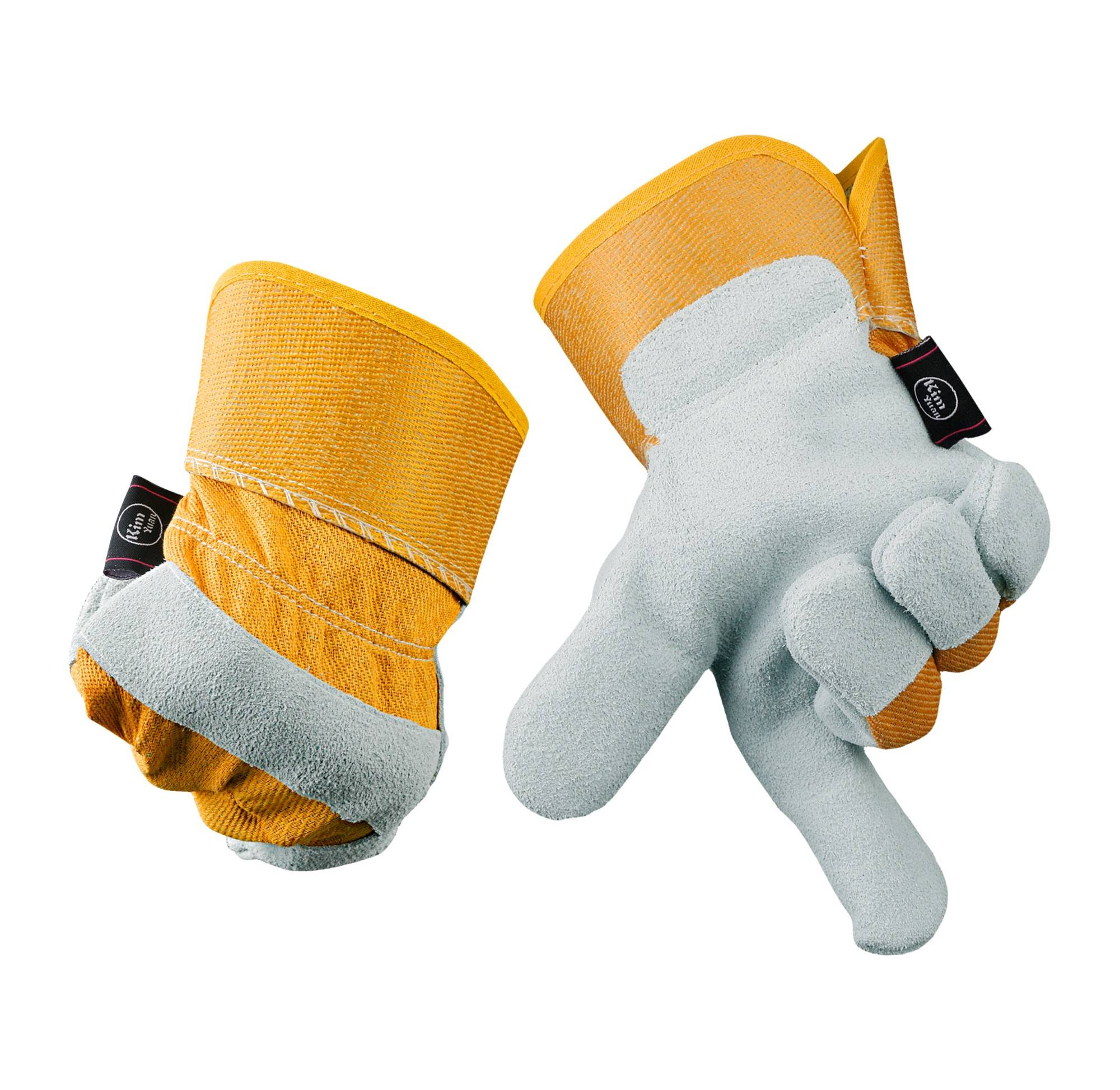 KIM YUAN  Yellow Leather Work Gloves, Anti-slippery & Dirt-resistant, Perfect for Construction/Motorcycle/Yard work,Men&Women
