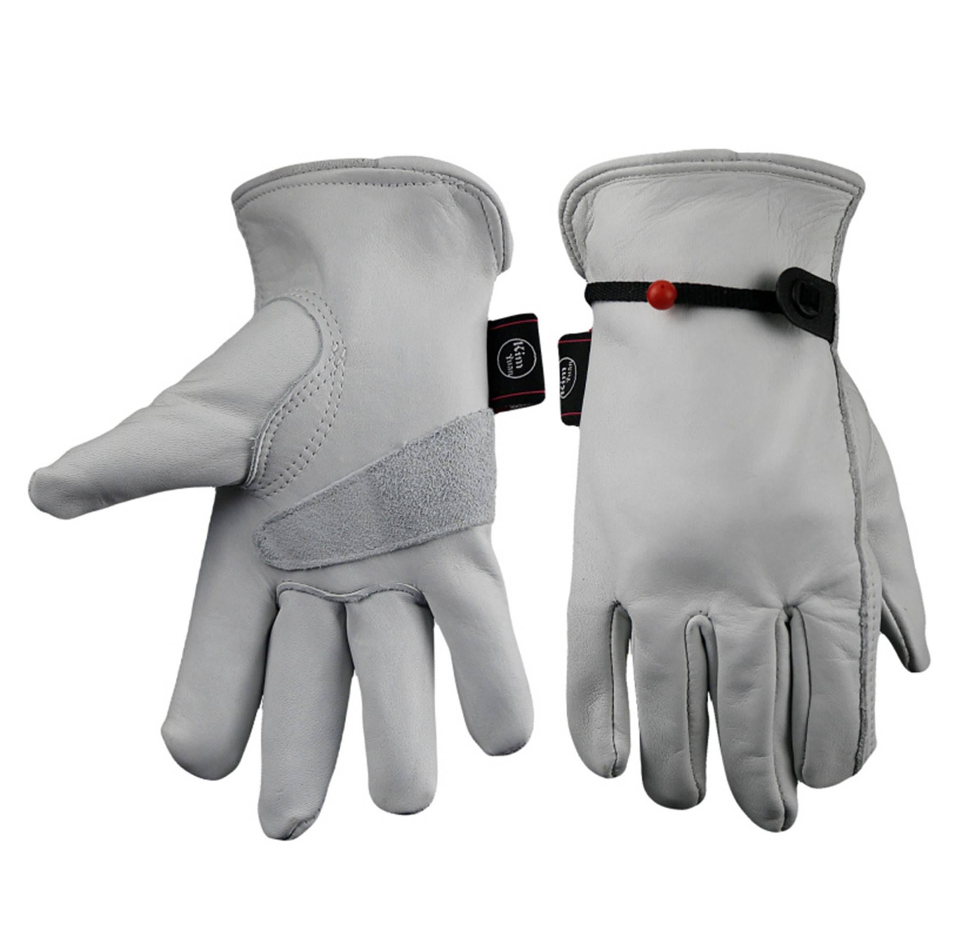 KIM YUAN Work Gloves grain cowhide For Yard/Cutting/Construction/Motorcycle,With wrist buckle Free adjustment Men&Women