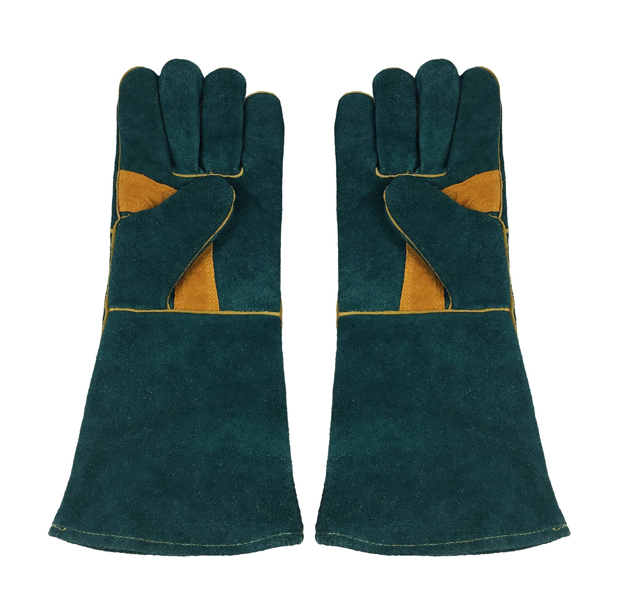 KIM YUAN Leather Welding Gloves Heat/Fire Resistant, Perfect for Welder/Oven/Fireplace/Animal Handling/BBQ -GREEN-