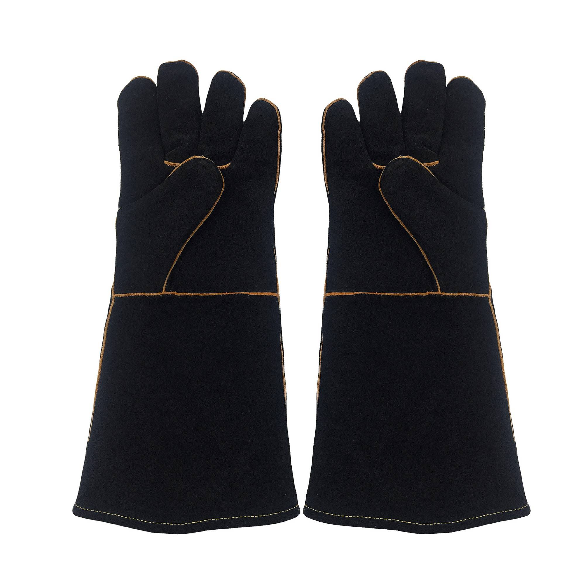KIM YUAN  Black Welding Gloves Heat Resistant Perfect for Welder/Cooking/Baking/Fireplace/Animal Handling/BBQ