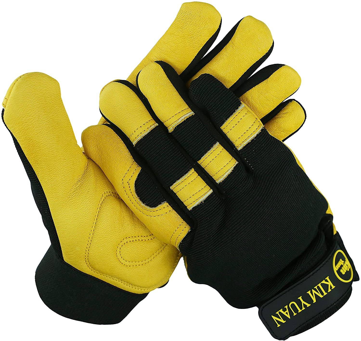 KIM YUAN Leather Motorcycle Gloves, Grain Cowhide Glove for Work, Driving, Gardening, Hunting, Climbing - Extremely Soft and Snug Fit - Superior Grip Reinforced Palm Padding