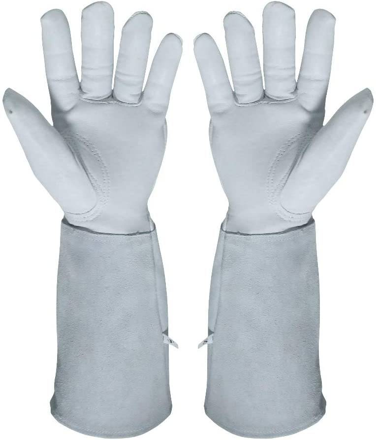KIM YUAN Rose Pruning Gloves for Men and Women. Thorn Proof Goatskin Leather Gardening Gloves with Long Sheepskin Gauntlet to Protect Your Arms Until The Elbow