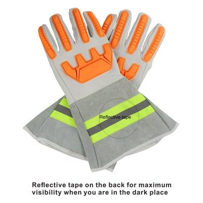 High Visibility Welding Gloves With Reflective Strip Heat and Fire Resistant Reflective Cut Resistant Safety Gloves 14