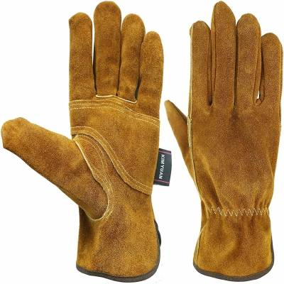 KIM YUAN Waterproof Leather Work Gloves, 1 Pairs Thorn Proof Gardening Gloves, Heavy Duty Rigger Gloves for Gardening, Fishing, Construction and Restoration Work & More